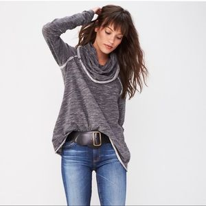 Free People Beach Cocoon Cowl Pullover Charcoal